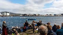 Image: The Ólavsøka (which is the Faroese national holiday in commemoration of the Norwegian king St. Olav, which is also still celebrated in some areas of Norway) rowing contest. We managed to find a spot on Tinganes, which is the location of the old Faroese Ting (parliament), and where their government resides a millennia later.