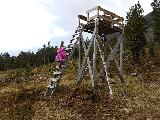 Image: Visiting one of the hunting towers with the kids. Nicoline climbs up on her own.