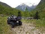 Image: The ATV and view back down the Horpedalen valley.